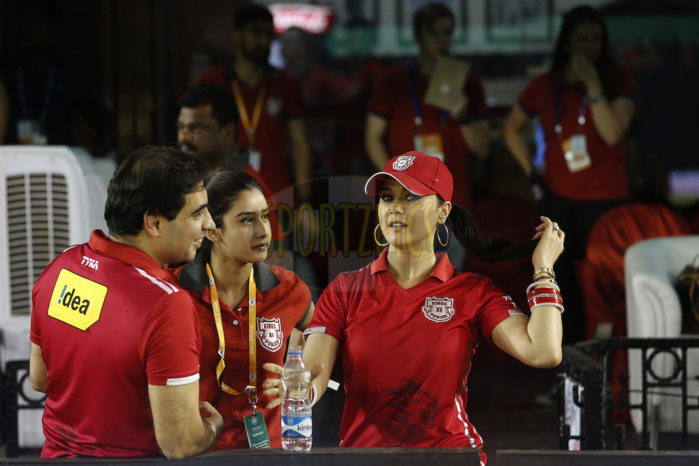 Preity Zinta Kings XI Punjab owner with officials during match 21 of the Vivo Indian Premier League ( IPL ) 2016 between the Kings XI Punjab and the Mumbai Indians held at the IS Bindra Stadium, Mohali, India on the 25th April 2016<br /> <br /> Photo by Arjun Singh / IPL/ SPORTZPICS