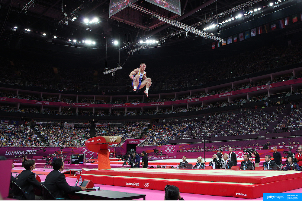Igor Radivilov, Ukraine, in action winning the bronze medal in the Gymnastics Artistic, Men's Apparatus, Vault Final at the London 2012 Olympic games. London, UK. 6th August 2012. Photo Tim Clayton