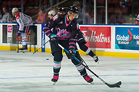 KELOWNA, BC - SEPTEMBER 21:  Carson Sass #7 of the Kelowna Rockets warms up with the puck against the Spokane Chiefs  at Prospera Place on September 21, 2019 in Kelowna, Canada. (Photo by Marissa Baecker/Shoot the Breeze)