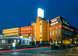 Night view of Backfabrik commercial building containing many start-up companies in Mitte Berlin, Germany