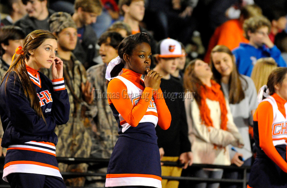 Charles Henderson fans and cheerleaders react during the second half of a football game against Dora in the third round of the AHSAA playoffs in Troy, Ala., Friday, Nov. 23, 2012.  Dora won 33-21. (Photo/Thomas Graning)