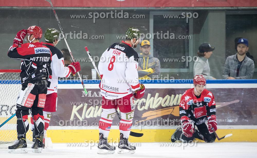 16.09.2016, Tiroler Wasserkraft Arena, Innsbruck, AUT, EBEL, HC TWK Innsbruck Die Haie vs HCB Suedtirol Alperia, 1. Runde, im Bild v.l. Daniel Mitterdorfer (HCI), Marco Insam (Bozen), Ondrej Sedivy (HCI) nach dem 3:5 durch Marco Insam (Bozen) // f.l. Daniel Mitterdorfer (HCI) Marco Insam (Bozen) Ondrej Sedivy (HCI) nach dem 3:5 durch Marco Insam (Bozen) during the Erste Bank Icehockey League 1st Round match between HC TWK Innsbruck Die Haie and HCB Suedtirol Alperia at the Tiroler Wasserkraft Arena in Innsbruck, Austria on 2016/09/16. EXPA Pictures © 2016, PhotoCredit: EXPA/ Johann Groder