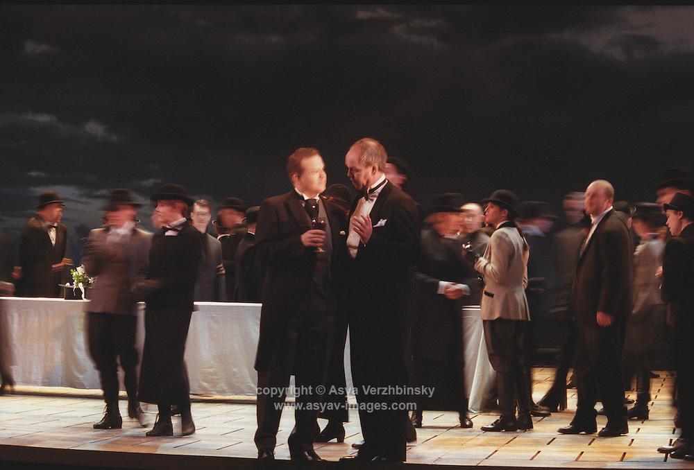 "Royal Opera in Donizetti's ""Lucia di Lammermoor""<br /> <br /> <br /> Enrico Ashton: Anthony Michaels-Moore<br /> Lord Arturo Bucklaw: Peter Auty<br /> <br /> <br /> Director: Christof Loy<br /> Designs: Herbert Murauer<br /> Lighting: Rheinhard Traub"