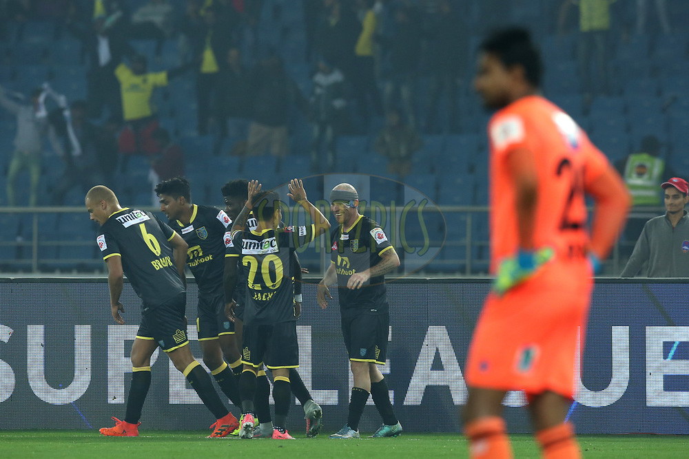 Iain Hume of Kerala Blasters FC celebrates the goal with team players during match 43 of the Hero Indian Super League between Delhi Dynamos FC and Kerala Blasters FC  held at the Jawaharlal Nehru Stadium, Delhi, India on the 10th January 2018<br /> <br /> Photo by: Deepak Malik  / ISL / SPORTZPICS