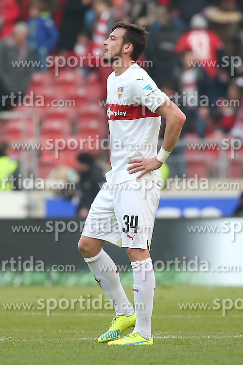 20.03.2016, Mercedes Benz Arena, Stuttgart, GER, 1. FBL, VfB Stuttgart vs Bayer 04 Leverkusen, 27. Runde, im Bild Boris Tashchy (VfB Stuttgart) niedergeschlagen // during the German Bundesliga 27th round match between VfB Stuttgart and Bayer 04 Leverkusen at the Mercedes Benz Arena in Stuttgart, Germany on 2016/03/20. EXPA Pictures &copy; 2016, PhotoCredit: EXPA/ Eibner-Pressefoto/ Fudisch<br /> <br /> *****ATTENTION - OUT of GER*****