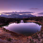 Photo from the campsite at Agnew Pass of the largest of Clark Lakes in the Ansel Adams Wilderness, CA. Calm Fall Evening sets in.