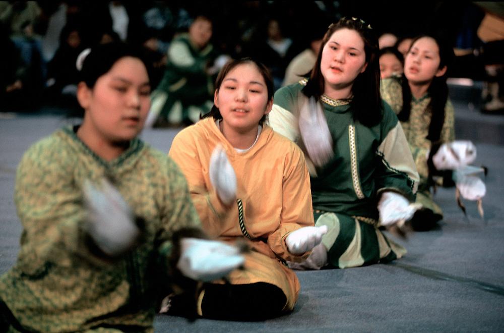 Barrow, Alaska. Alaska Native girls taking part in a traditional performance.