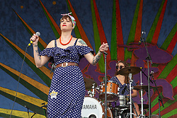 May 3, 2018 - New Orleans, Louisiana, U.S - GAL HOLIDAY performs during 2018 New Orleans Jazz and Heritage Festival at Race Course Fair Grounds in New Orleans. (Credit Image: © Daniel DeSlover via ZUMA Wire)