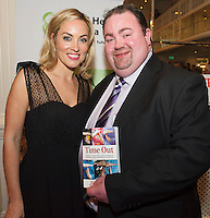 "Kathryn Thomas and Daragh McGann at the launch of Ronan Scully's New book ""Time Out"" An Innovative collaboration of words, reflections and stories of goodness, tenderness and positivity for all our lives combine to great effect in this new publication published by Ballpoint Press in aid of Self Help Africa and `The Irish Guide dogs for the Blind  at Hotel Meyrick in Galway. Picture:Andrew Downes"