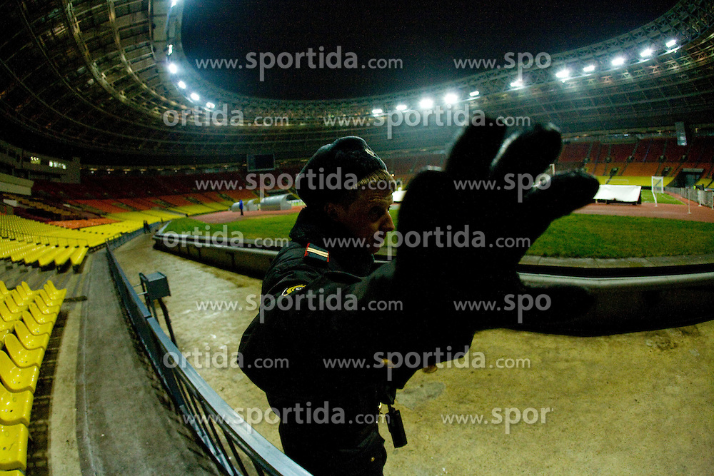 Stadium Luzhniki a day before FIFA World Cup 2010 Qualifying match between Russia and Slovenia, on November 13, 2009, in Moscow, Russia.  (Photo by Vid Ponikvar / Sportida)