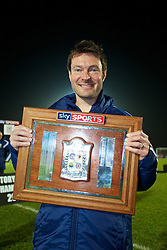 BALLYMENA, NORTHERN IRELAND - Thursday, November 20, 2014: Wales' Dyfri Owen with the trophy after the 2-0 victory over Northern Ireland during the Under-16's Victory Shield International match at the Ballymena Showgrounds. (Pic by David Rawcliffe/Propaganda)