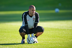 CARDIFF, WALES - Monday, August 30, 2010: Wales' goalkeeper Boaz Myhill during training at the Vale of Glamorgan ahead of the UEFA Euro 2012 Qualifying Group 4 match against Montenegro. (Pic by David Rawcliffe/Propaganda)
