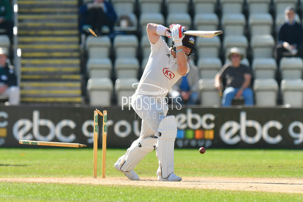 Wicket - Mark Stoneman of Surrey is bowled by Wayne Parnell of Worcestershire  during the final day of the Specsavers County Champ Div 1 match between Worcestershire County Cricket Club and Surrey County Cricket Club at New Road, Worcester, United Kingdom on 13 September 2018.