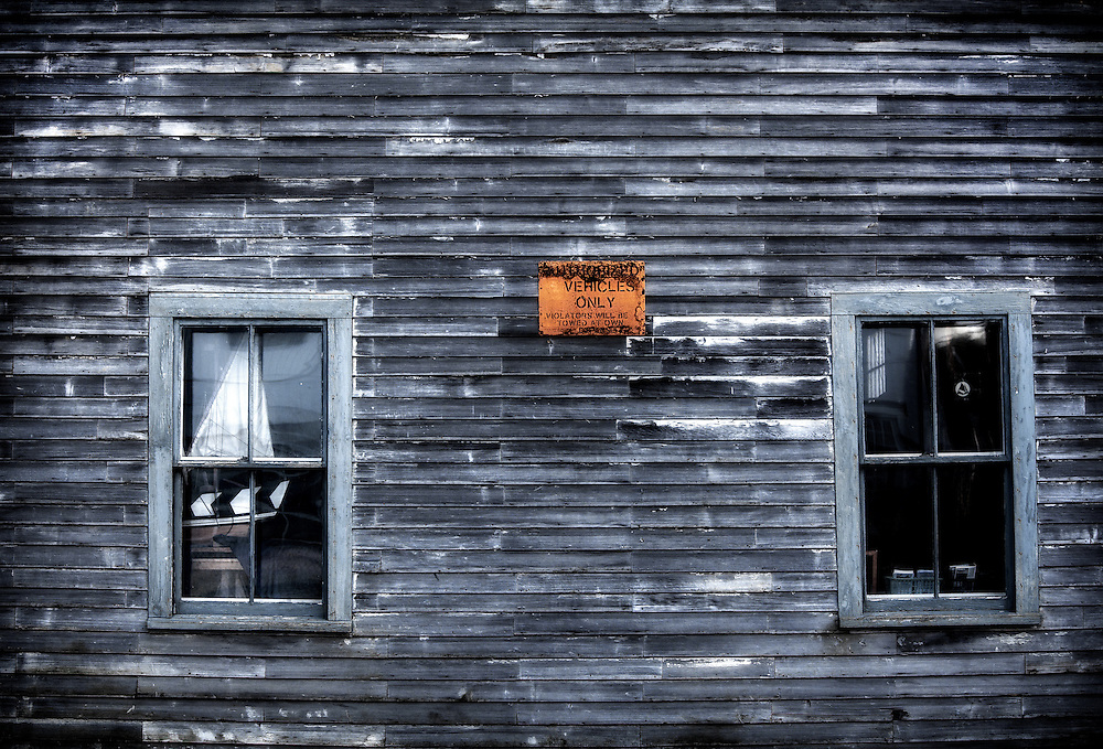 A 19th century waterfront freight shed on Commercial Street in Bath, Maine.