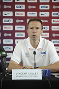 DESCRIZIONE : Equipe de France Homme Insep Conference de Presse<br /> GIOCATORE : Vincent Collet<br /> SQUADRA : France Homme <br /> EVENTO : Preparation Euro Lituanie<br /> GARA : <br /> DATA : 13/07/2011<br /> CATEGORIA : Basketball France Homme<br /> SPORT : Basketball<br /> AUTORE : JF Molliere FFBB<br /> Galleria : France Basket 2010-2011 Reportage<br /> Fotonotizia : Equipe de France Homme Insep Conference de Presse<br /> Predefinita :
