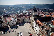 """View from the tower of """"The Church of the Transfiguration of Our Lord"""" at the South Bohemian city of Tabor. A group of Jan Hus followers came to a hill where a Premyslid settlement used to be and they founded a town there in the year 1420 and gave it a Biblical name - Tabor. Being led by captains Jan Zizka of Trocnov and Prokop Holy they started out on their victorious battles from there. The foundation of Tabor is connected with the name of Jan Hus, a great reformer of the Catholic Church."""