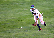 Kernels Center Fielder Byron Buxton (7) fields a ball during a game between the Cedar Rapids Kernels and the Quad Cities River Bandits at Veterans Memorial Stadium in Cedar Rapids, Iowa on June 5, 2013.