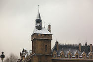 France. Paris. 1st district. Ile de la Cite, Paris, France. The spires of the Conciergerie rise above the Seine in Paris / Le clocher de la  conciergerie, la seine.
