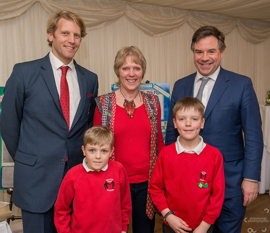 Primary School winner with Andrew Triggs Hodge and their local MP during the WWF UK Earth Hour 10th Anniversary Parliamentary Reception, Terrace Pavilion, Palace of Westminster. 28th Feb. 2017