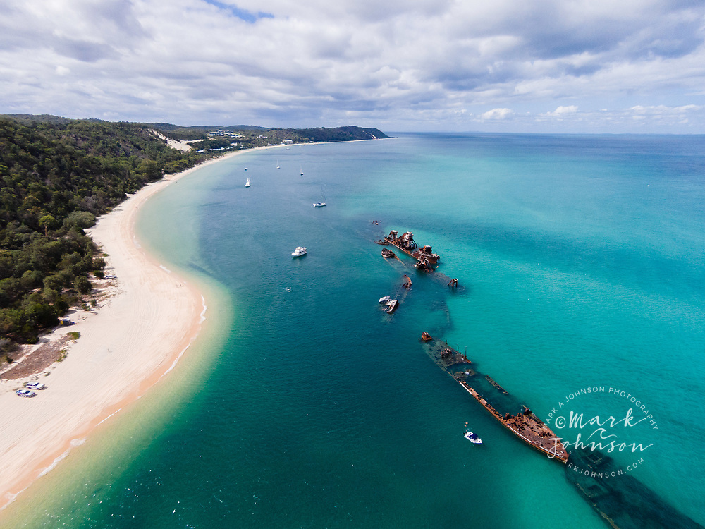 Aerial photograph of The Wrecks, Tangalooma, Moreton Island, Queensland, Australia