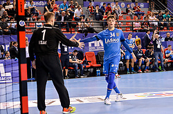 Urban Lesjak and Domen Makuc of Celje PL celebrate during handball match between Meshkov Brest and RK Celje Pivovarna Lasko in bronze medal match of SEHA- Gazprom League Final 4, on April 15, 2018 in Skopje, Macedonia. Photo by  Sportida