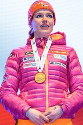 10.02.2017, Biathlonarena, Hochfilzen, AUT, IBU Weltmeisterschaften Biathlon, Hochfilzen 2017, Sprint Frauen, Siegerehrung, im Bild Siegerin und Weltmeisterin Gabriela Koukalova (CZE) // Winner and World Champion Gabriela Koukalova of Czech Republic presents her Goldmedal during Winner Ceremony of the Ladies Sprint of the IBU Biathlon World Championships at the Biathlonarena in Hochfilzen, Austria on 2017/02/10. EXPA Pictures © 2017, PhotoCredit: EXPA/ JFK