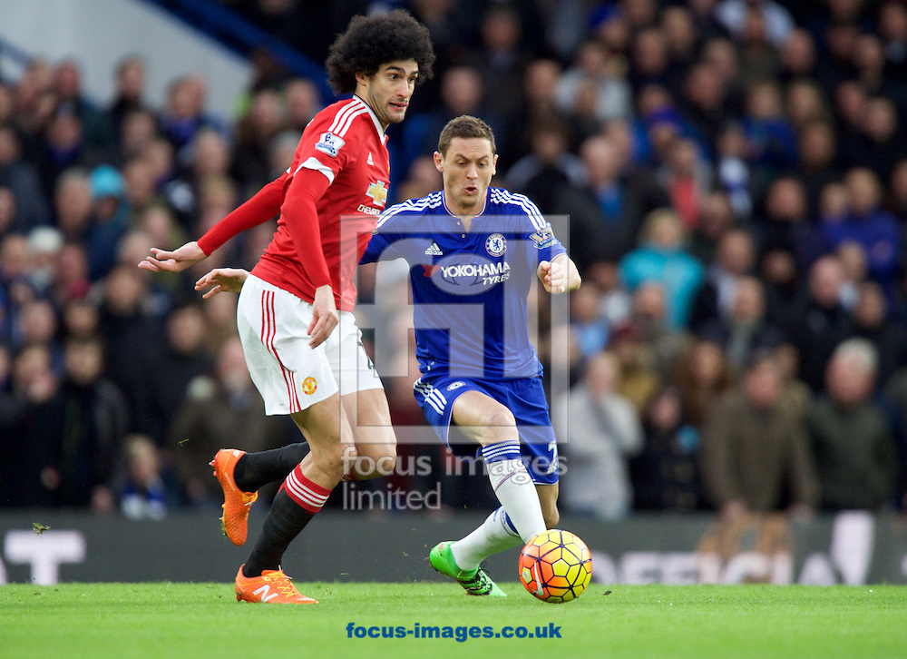 Nemanja Matic of Chelsea takes the ball from Marouane Fellaini of Manchester United during the Barclays Premier League match at Stamford Bridge, London<br /> Picture by Alan Stanford/Focus Images Ltd +44 7915 056117<br /> 07/02/2016