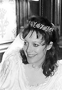 Rebecca Fraser wearing a tiara at her marriage to Ed Fitzgerald. London. 1988. © Copyright Photograph by Dafydd Jones 66 Stockwell Park Rd. London SW9 0DA Tel 020 7733 0108 www.dafjones.com