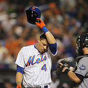 Wilmer Flores, New York Mets, receives a standing ovation from the fans at his last at bat for the Mets after learning he had been traded to the Milwaukee Brewers during the New York Mets Vs San Diego Padres MLB regular season baseball game at Citi Field, Queens, New York. USA. 29th July 2015. Photo Tim Clayton