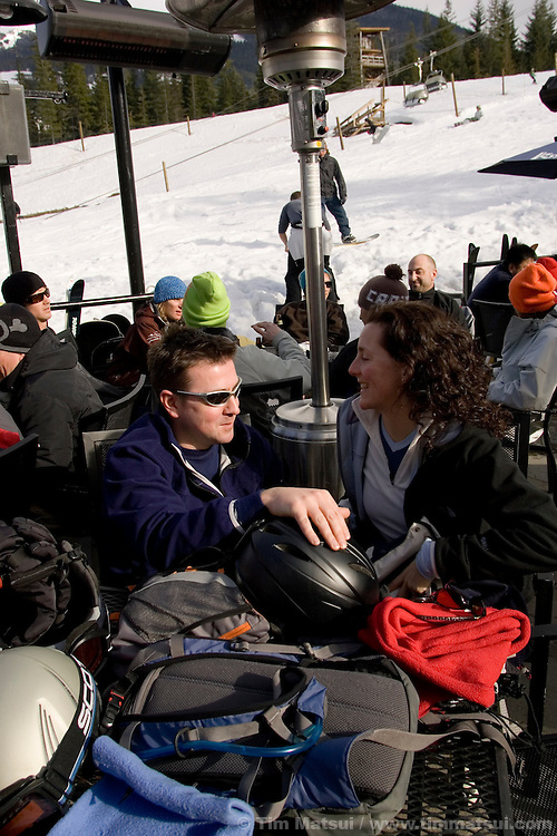 At the GLC bar for apres ski at Whistler-Blackcomb ski resort in British Columbia, Canada.