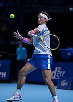 Tennis - 2019 Nitto ATP Finals at The O2 - Day Two<br /> <br /> Singles Group Andre Agassi: Rafael Nadal (Spain) Vs. Alexander Zverev (Germany)<br /> <br /> Rafael Nadal (Spain) on the back foot as he plays Alexander Zverev (Germany)<br /> <br /> COLORSPORT/DANIEL BEARHAM<br /> <br /> COLORSPORT/DANIEL BEARHAM
