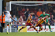 Romain Vincelot of Bradford City blocks a shot from Blackpool's Bright Osayi-Samuel during the EFL Sky Bet League 1 match between Bradford City and Blackpool at the Coral Windows Stadium, Bradford, England on 5 August 2017. Photo by Paul Thompson.