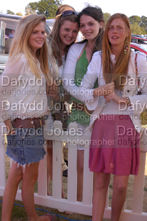 Coco Clevely, Georgina French, Caroline Cranley and Carina Beresford. Veuve Clicquot Gold Cup Final at Cowdray Park. Midhurst. 17 July 2005. ONE TIME USE ONLY - DO NOT ARCHIVE  © Copyright Photograph by Dafydd Jones 66 Stockwell Park Rd. London SW9 0DA Tel 020 7733 0108 www.dafjones.com