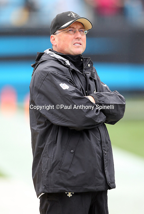New Orleans Saints offensive coordinator Pete Carmichael looks on from the sideline during the 2015 NFL week 3 regular season football game against the Carolina Panthers on Sunday, Sept. 27, 2015 in Charlotte, N.C. The Panthers won the game 27-22. (©Paul Anthony Spinelli)