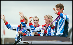Zara Phillips with Britain's equestrian eventing silver medallists parade for the crowds at Land Rover Burghley Horse Trials, Sunday September 2, 2012.Photo By Nico Morgan/i-Images