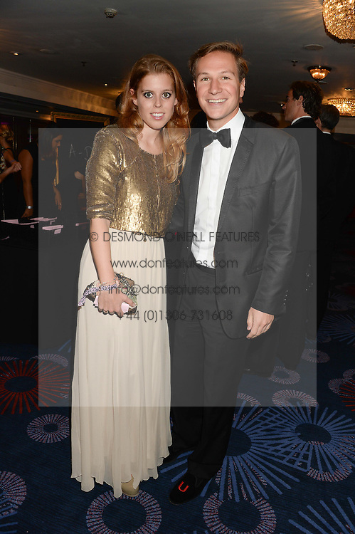 British fine jewellery brand Boodles welcomed guests for the 2013 Boodles Boxing Ball in aid of Starlight Children's Foundation held at the Grosvenor House Hotel, Park Lane, London on 21st September 2013.<br /> Picture Shows:-PRINCESS BEATRICE OF YORK and DAVE CLARK.<br /> <br /> Press release - https://www.dropbox.com/s/a3pygc5img14bxk/BBB_2013_press_release.pdf<br /> <br /> For Quotes  on the event call James Amos on 07747 615 003 or email jamesamos@boodles.com. For all other press enquiries please contact luciaroberts@boodles.com (0788 038 3003)