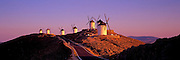 SPAIN, LA MANCHA, CONSUEGRA traditional windmills south of Toledo