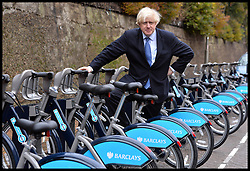 The London Mayor Boris Johnson at the new docking station at Wandsworth as he expands the Barclays Cycle Hire to Wandsworth, South West London, United Kingdom. Friday, 13th December 2013. Picture by Andrew Parsons / i-Images