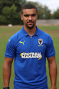 AFC Wimbledon striker Kweshi Appiah (9) during the AFC Wimbledon 2018/19 official photocall at the Kings Sports Ground, New Malden, United Kingdom on 31 July 2018. Picture by Matthew Redman.