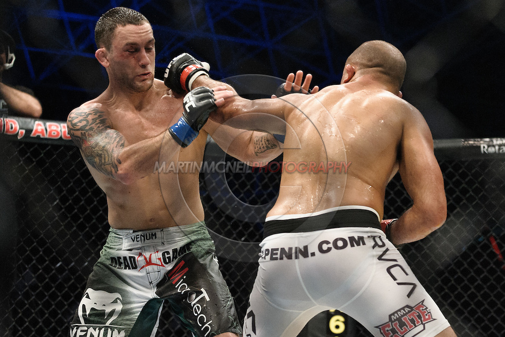 "ABU DHABI, UNITED ARAB EMIRATES, APRIL 10, 2010: Frankie Edgar (green/white shorts) and BJ Penn (white trunks) are pictured at ""UFC 112: Invincible"" inside Ferari World, Abu Dhabi on April 10, 2010"