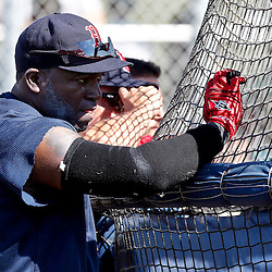 February 19, 2011; Fort Myers, FL, USA; Boston Red Sox first baseman David Ortiz (34) watches batting practice from behind the cage during spring training at the Player Development Complex.  Mandatory Credit: Derick E. Hingle