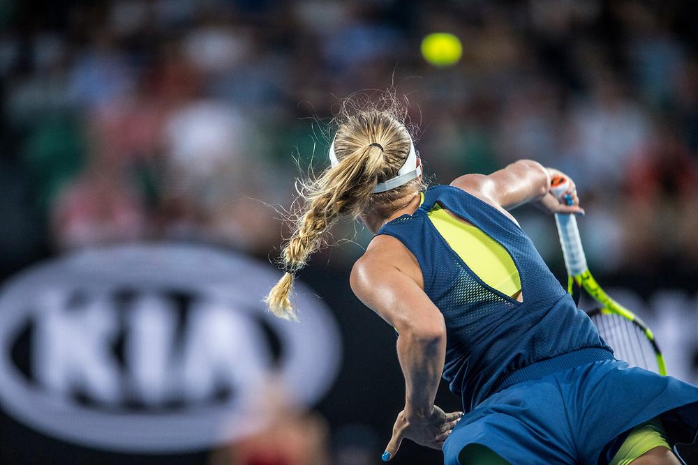 Caroline Wozniacki of Denmark during the women's singles championship match during the 2018 Australian Open on day 13 in Melbourne, Australia on Saturday night January 27, 2018.<br /> (Ben Solomon/Tennis Australia)