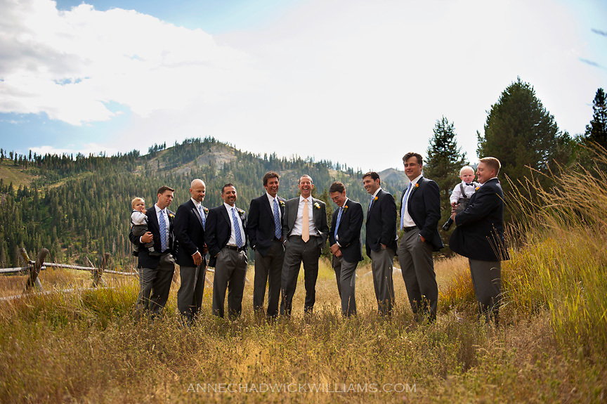 A groom and his groomsmen before his Squaw Valley, Tahoe, California wedding.