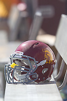 03 September 2011: A USC Trojans football helmet sits on the bench during USC's 19-17 victory against the Minnesota Gophers in a college football game at the Los Angeles Memorial Coliseum.