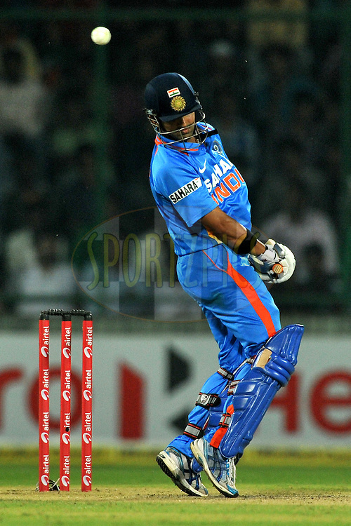 Gautam Gambhir of India bats during the 2nd One Day International ( ODI ) match between India and England held at the The Feroz Shah Kotla Stadium, Delhi on the 17th October 2011..Photo by Pal Pillai/BCCI/SPORTZPICS