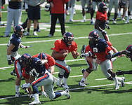 Maikhail Miller (9) scores at Ole Miss football scrimmage at Vaught-Hemingway Stadium in Oxford, Miss. on Saturday, April 6, 2013.