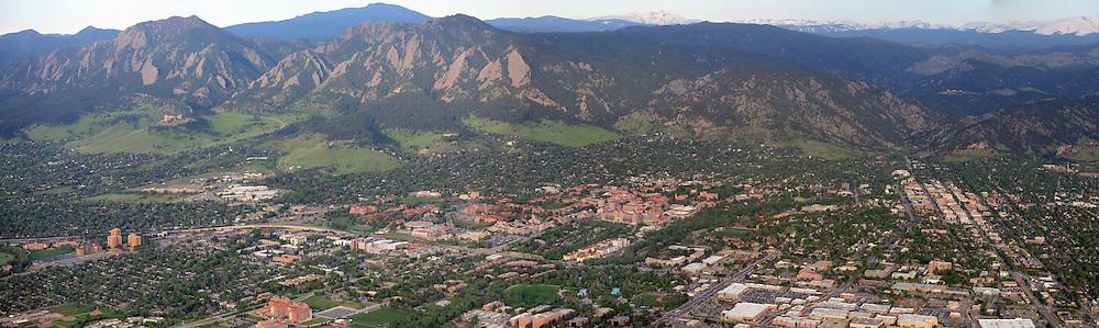 Panoramic aerial Boulder Colorado. May 2014.