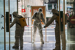 March 16, 2020, Malaga, Spain: Army soldiers clean due to the Coronavirus. The Second Emergency Response Battalion arrived with 24 vehicles and deployed through the airport. (Credit Image: © Lorenzo Carnero/ZUMA Wire)
