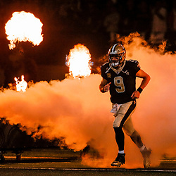 Sep 9, 2018; New Orleans, LA, USA; New Orleans Saints quarterback Drew Brees (9) during introductions before a game against the Tampa Bay Buccaneers at the Mercedes-Benz Superdome. Mandatory Credit: Derick E. Hingle-USA TODAY Sports