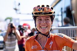 Stage winner, Evelyn Stevens lets the win sink in at Giro Rosa 2016 - Stage 6. A 118.6 km road race from Andora to Alassio, Italy on July 7th 2016.